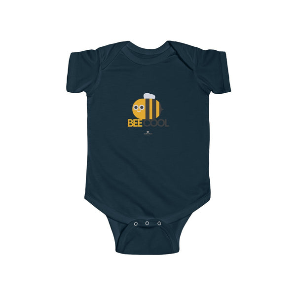 Bee Cotton Kids Bodysuit, Cool Infant Fine Jersey Regular Fit Unisex Clothes - Made in UK-Infant Short Sleeve Bodysuit-Navy-NB-Heidi Kimura Art LLC