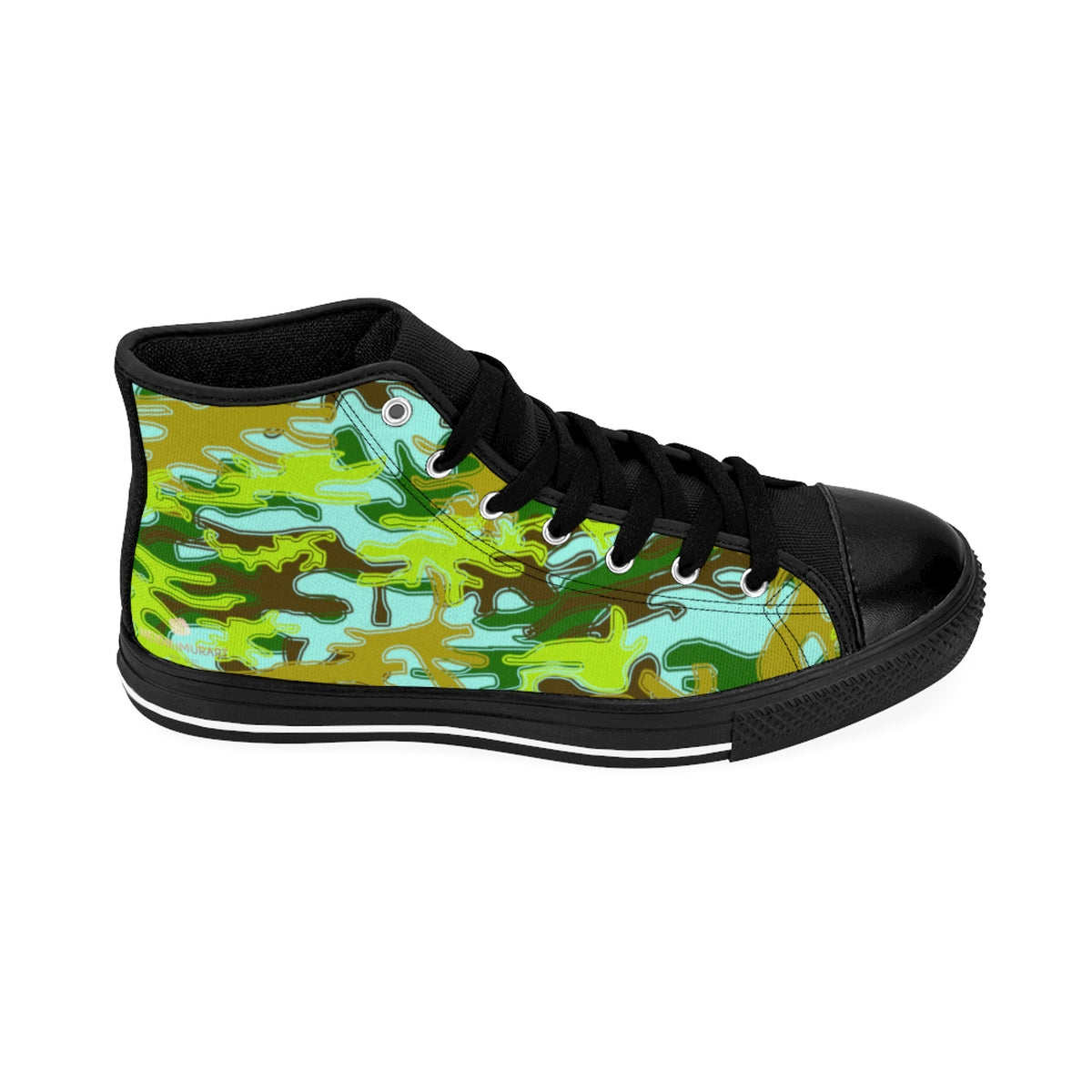 Light Blue Green Camouflage Army Military Print Men's High-top Sneakers Tennis Shoes-Men's High Top Sneakers-Black-US 9-Heidi Kimura Art LLC