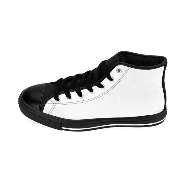 White Princess Solid Color Women's High Top Sneakers Running Shoes (US Size: 6-12)-Women's High Top Sneakers-Heidi Kimura Art LLC White Women's Sneakers, Modern Minimalist White Princess Solid Color Women's High Top Minimalist Fashion Sneakers Running Shoes (US Size: 6-12)