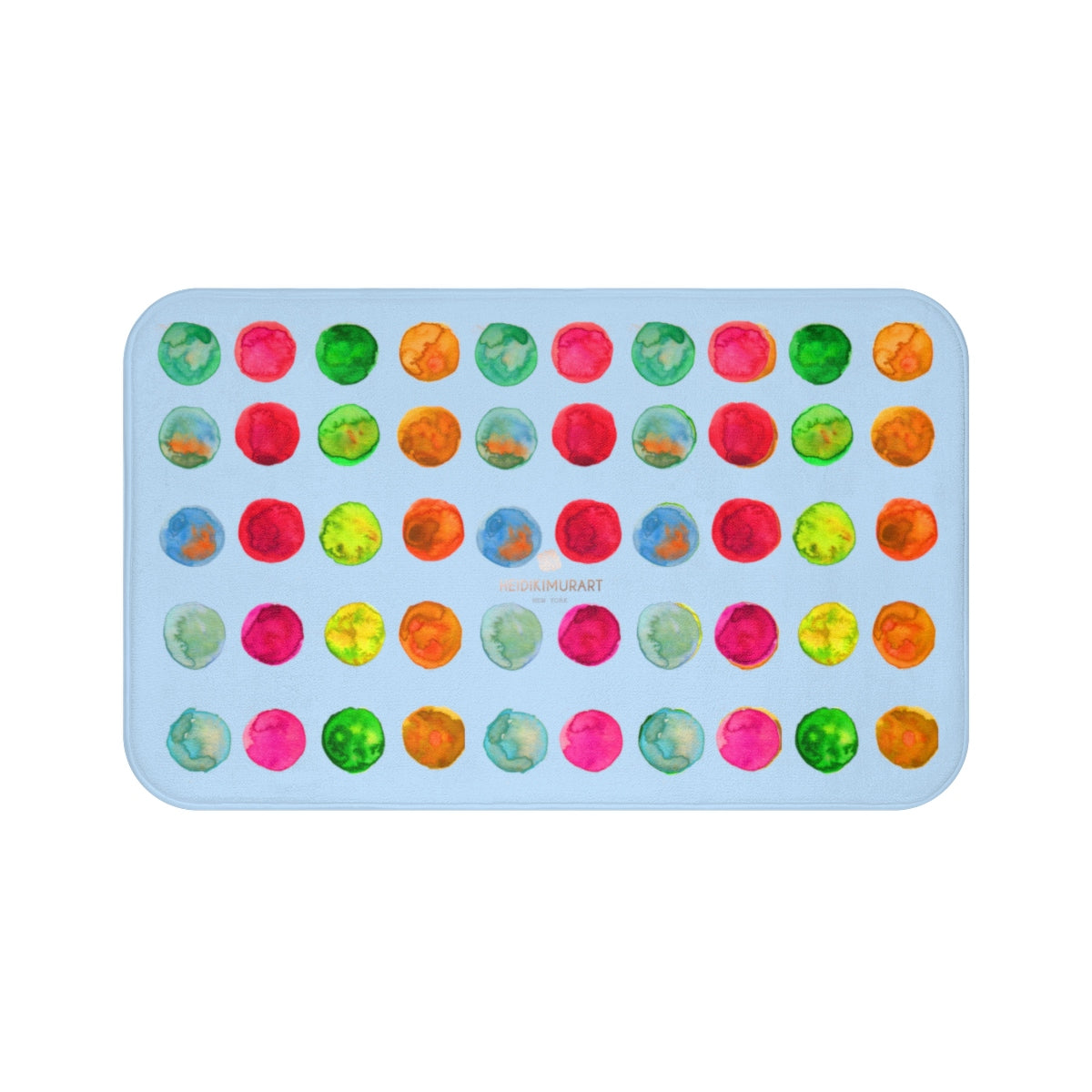 Polka Dot Bath Mat, Baby Pastel Blue Colorful Dots Print Microfiber Bath Mat- Made in USA-Bath Mat-Large 34x21-Heidi Kimura Art LLC