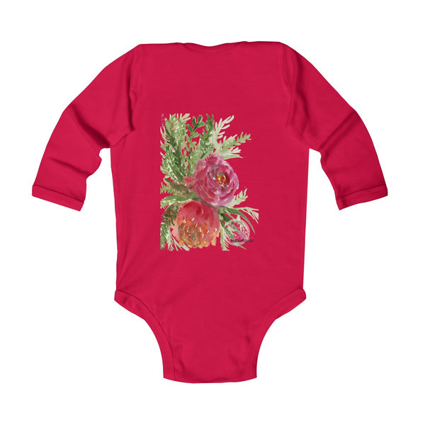 Floral Red Orange Rose Infant Long Sleeve Bodysuit - Made in UK (UK Size: 6M-24M)-Kids clothes-Heidi Kimura Art LLC