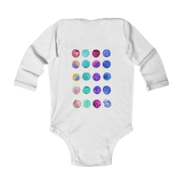Polka Dots Print Baby's Cute Infant Long Sleeve Bodysuit - Made in UK (UK Size: 6M-24M)-Kids clothes-Heidi Kimura Art LLC