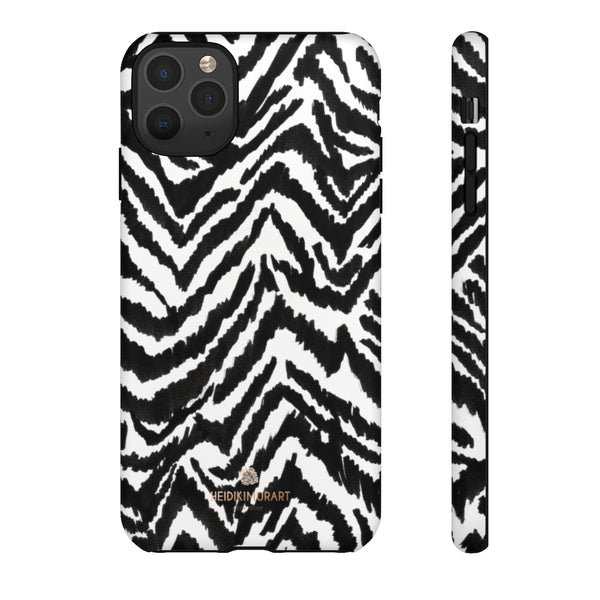 White Tiger Stripe Phone Case, Animal Print Best Tough Designer Phone Case -Made in USA-Phone Case-Printify-iPhone 11 Pro Max-Matte-Heidi Kimura Art LLC
