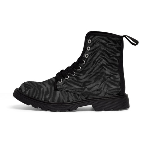 Black Tiger Striped Men's Boots, Fierce Wild Tiger Striped Animal Print Designer Men's Lace-Up Winter Boots Men's Shoes (US Size: 7-10.5)
