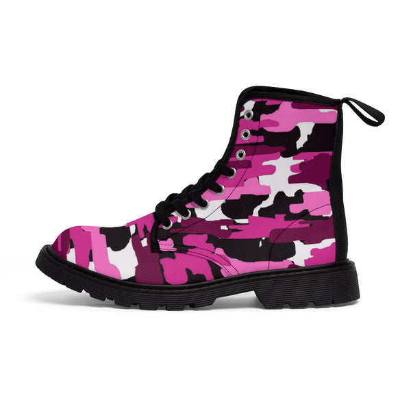 Purple Camo Women's Canvas Boots, Military Green Women's Boots, Military Green Camouflage Army Designer Women's Winter Lace-up Toe Cap Hiking Boots Shoes (US Size: 6.5-11)