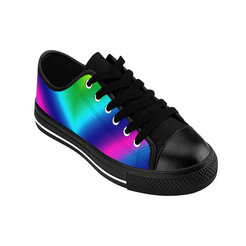 Rainbow Ombre Men's Sneakers, Gay Pride Low Top Shoes For Men-Shoes-Printify-Heidi Kimura Art LLC Futuristic Gay Pride Sneakers, Colorful Blue Rainbow Ombre Men's Sneakers, Gay Pride Men's Low Tops, Premium Men's Nylon Canvas Tennis Fashion Sneakers Shoes (US Size: 7-14)