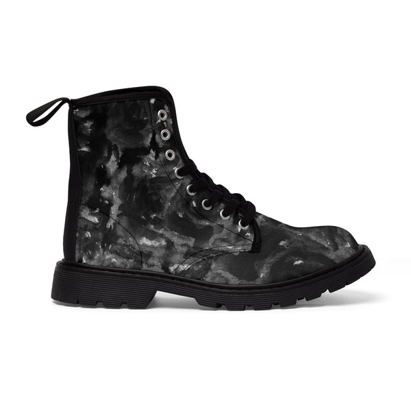 Kiseki Black Zombie Rose Floral Print Designer Women's Winter Lace-up Toe Cap Boots (US 6.5-11)-Women's Boots-Heidi Kimura Art LLC