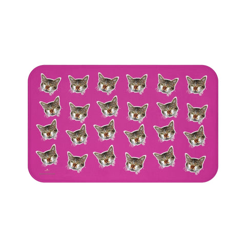 Hot Pink Cat Print Bath Mat, Premium Soft Microfiber Fine Bathroom Rug- Printed in USA-Bath Mat-Large 34x21-Heidi Kimura Art LLC