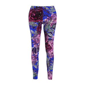 Navy Blue Floral Print Women's Tights / Casual Leggings - Made in USA(US Size: XS-2XL)-Casual Leggings-M-Heidi Kimura Art LLC