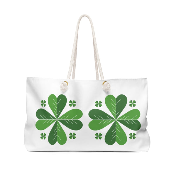 "White Green Clover Leaf St. Patrick's Day Irish Print 24""x13""Weekender Bag- Made in USA-Weekender Bag-24x13-Heidi Kimura Art LLC"