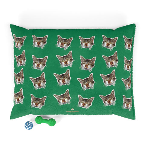 Green Cat Pet Bed, Solid Color Machine-Washable Pet Pillow With Zippers-Printed in USA-Pets-Printify-40x30-Heidi Kimura Art LLC