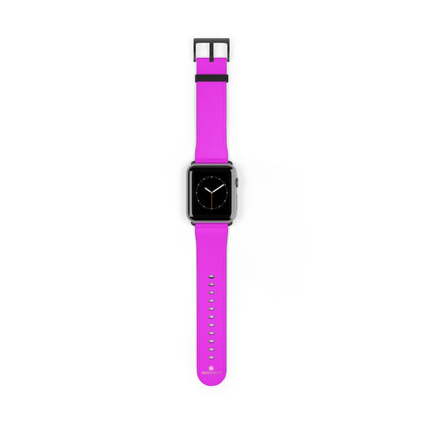 Hot Pink Solid Color Solid Color 38mm/42mm Watch Band For Apple Watches- Made in USA-Watch Band-42 mm-Black Matte-Heidi Kimura Art LLC