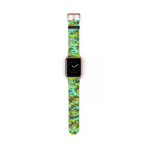 Light Blue Green Camo Print 38mm/ 42mm Watch Band For Apple Watches- Made in USA-Watch Band-42 mm-Rose Gold Matte-Heidi Kimura Art LLC