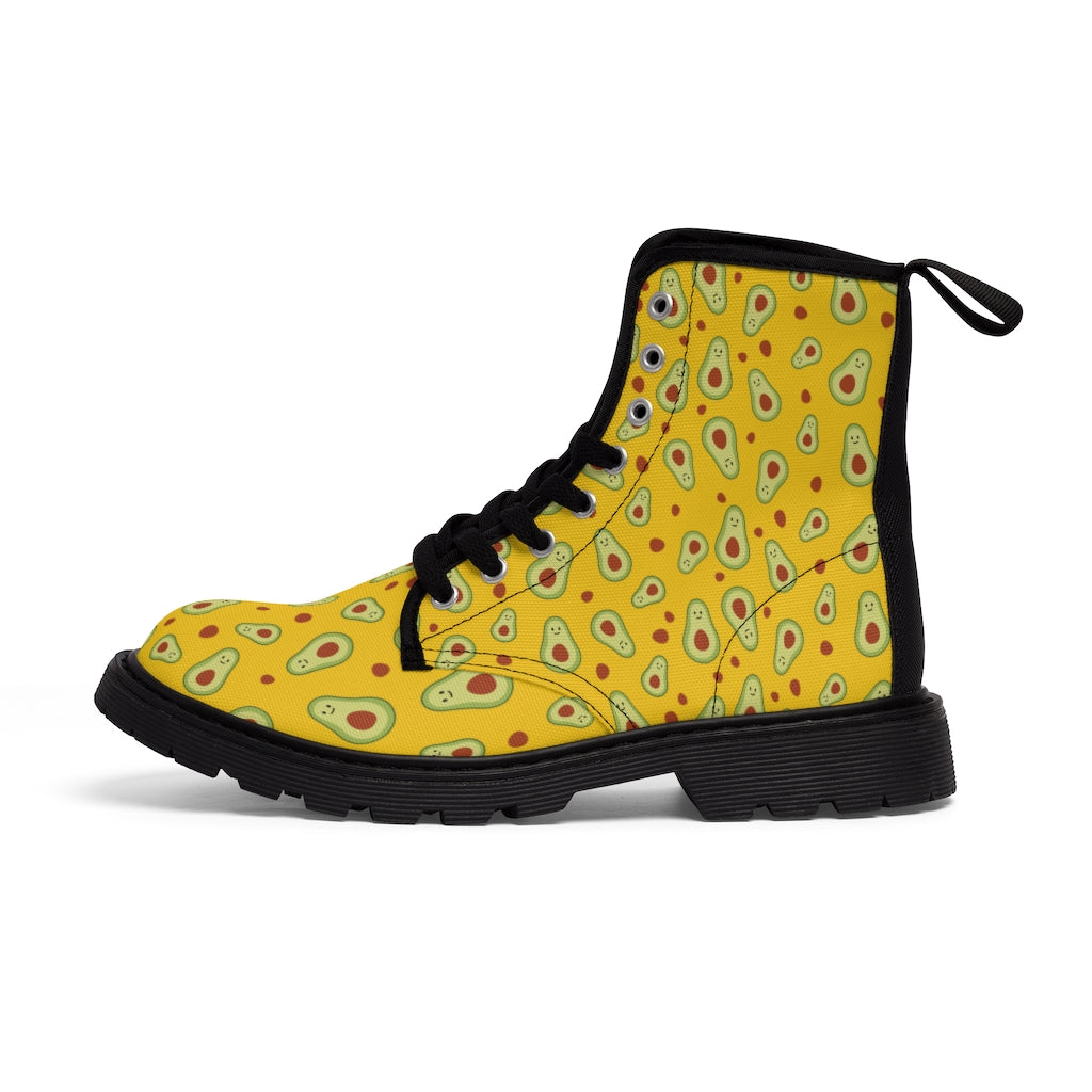 Avocado Women's Canvas Boots, Yellow Winter Laced Up Combat Boots For Vegan Loving Ladies-Women's Boots-Printify-ArtsAdd-Black-US 9-Heidi Kimura Art LLC