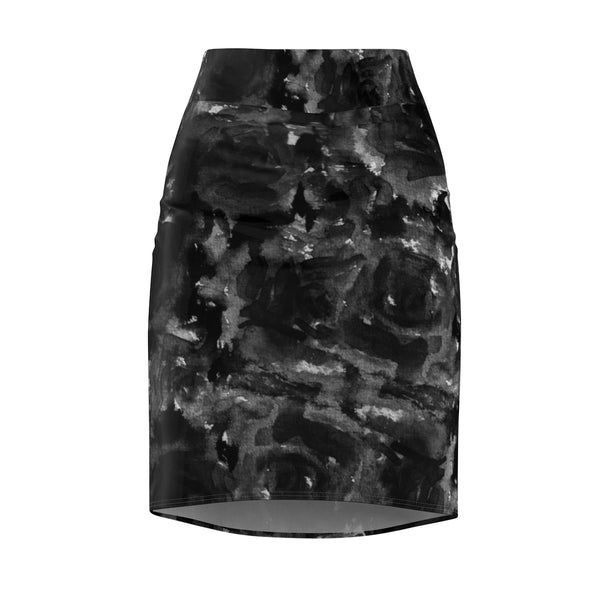 Gray Abstract Pencil Skirt, Black Rose Floral Print Women's Stretchy Pencil Skirt-Made in USA-Pencil Skirt-L-Heidi Kimura Art LLC