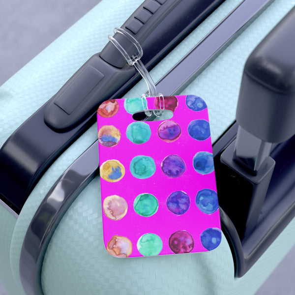 Toda Cute Watercolor Polka Dots Designer Travel Luggage Suitcase Bag Tag - Made in USA-Bag Tags-One Size-Heidi Kimura Art LLC