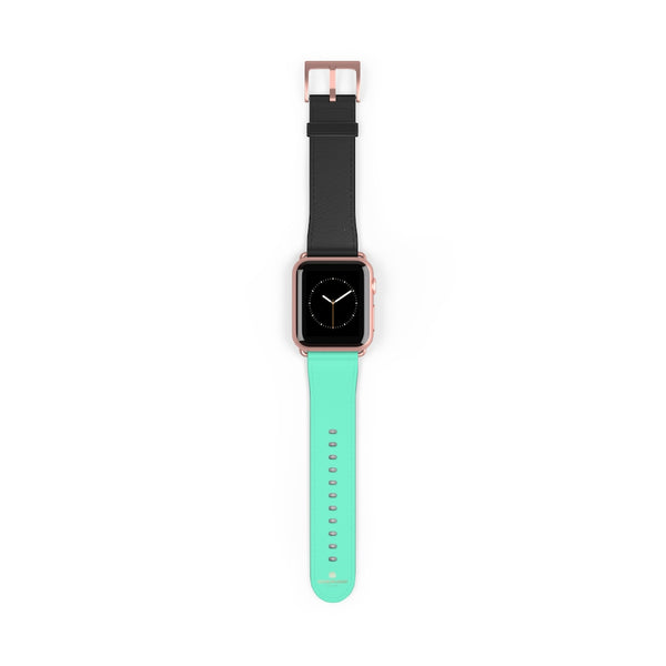 Dual Color Black & Light Blue 38mm/ 42mm Watch Band For Apple Watch- Made in USA-Watch Band-38 mm-Rose Gold Matte-Heidi Kimura Art LLC