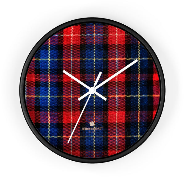 Classic Red Plaid Pattern London Calling Modern 10 in. Diameter Wall Clock-Made in USA-Wall Clock-10 in-Black-White-Heidi Kimura Art LLC