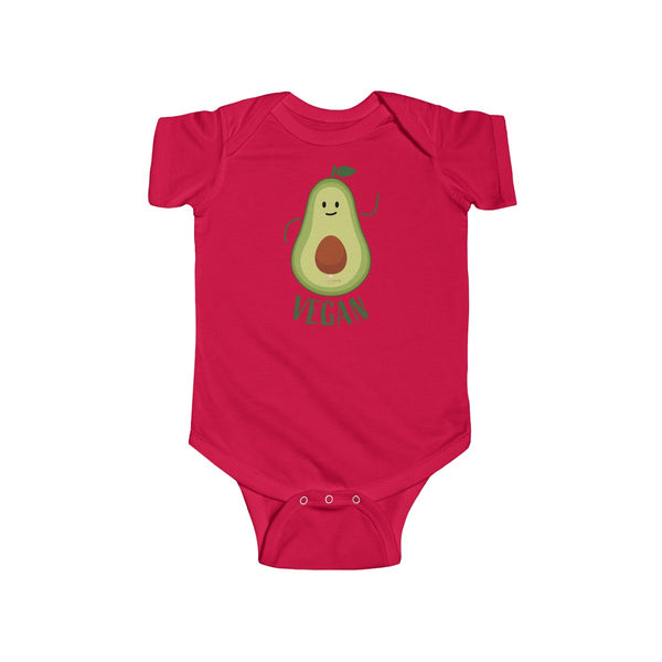 Avocado Baby Unisex Cotton Bodysuit, Infant Fine Jersey Regular Fit Clothes- Made in UK-Infant Short Sleeve Bodysuit-Red-NB-Heidi Kimura Art LLC
