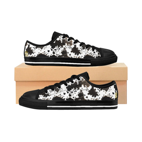 Cow Print Brown White Black Durable & Lightweight Women's Low Top Sneakers Running Shoes, (US Size: 6-12)