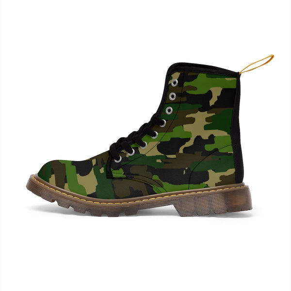 Green Camouflage Women's Canvas Boots, Army Military Print Winter Boots For Ladies-Shoes-Printify-Brown-US 8.5-Heidi Kimura Art LLC