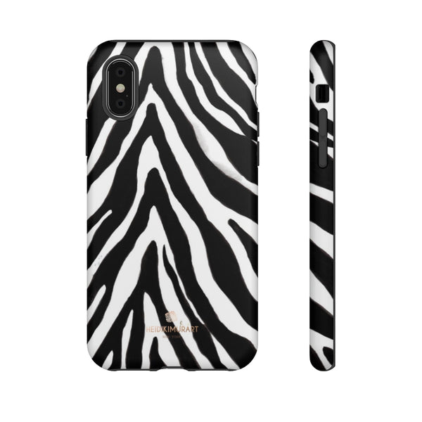 Zebra Stripe Phone Case, Animal Print Tough Designer Phone Case -Made in USA-Phone Case-Printify-iPhone XS-Matte-Heidi Kimura Art LLC