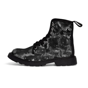 Kiseki Black Zombie Rose Floral Print Designer Women's Winter Lace-up Toe Cap Boots (US 6.5-11)-Women's Boots-Black-US 9-Heidi Kimura Art LLC