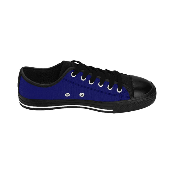 Navy Blue Solid Color Designer Low Top Women's Sneakers (US Size: 6-12)-Women's Low Top Sneakers-Heidi Kimura Art LLC