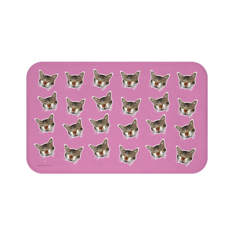 Pink Cat Print Bath Mat, Cute Calico Cat Soft Microfiber Fine Bathroom Rug- Printed in USA-Bath Mat-Large 34x21-Heidi Kimura Art LLC