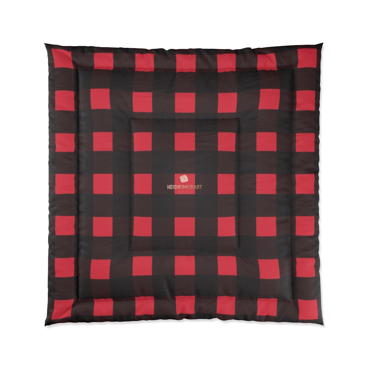 Red Buffalo Plaid Print Best Comforter For King/Queen/Full/Twin Bed - Made in USA-Comforter-88x88 (Queen Size)-Heidi Kimura Art LLC