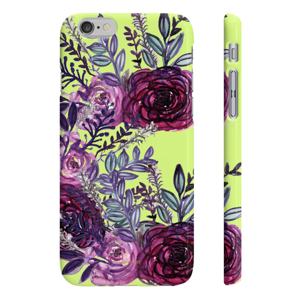 Yellow Slim iPhone/ Samsung Galaxy Floral Purple Rose iPhone or Samsung Case, Made in UK-Phone Case-iPhone 6/6S Slim-Glossy-Heidi Kimura Art LLC