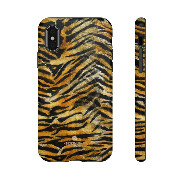Orange Tiger Striped Phone Case, Animal Print Tough Cases, Designer Phone Case-Made in USA-Phone Case-Printify-iPhone XS-Glossy-Heidi Kimura Art LLC