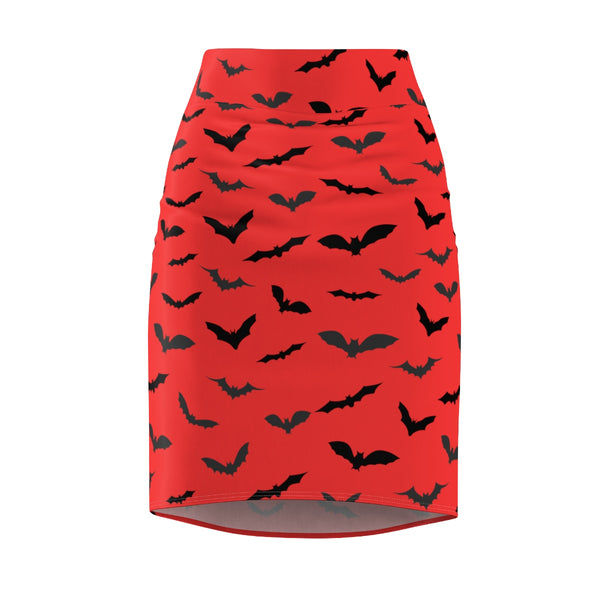 Red Black Halloween Bats Print Women's Pencil Skirt- Made in USA (US Size: XS-2XL)-Pencil Skirt-Heidi Kimura Art LLC