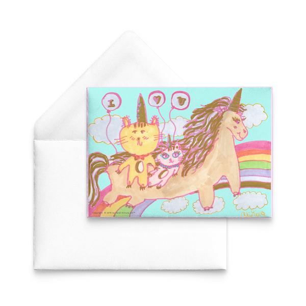 "Unicorn Kittens Cats ""I Love You"" Quote Flat Valentine's Day Cat Lover's 5""x7"" Post Card-Post Card-Heidi Kimura Art LLC"