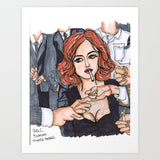 Red Head Cool Girl Deviant Smoking Her Cigarettes Art Print - Made in USA - Heidi Kimura Art LLC