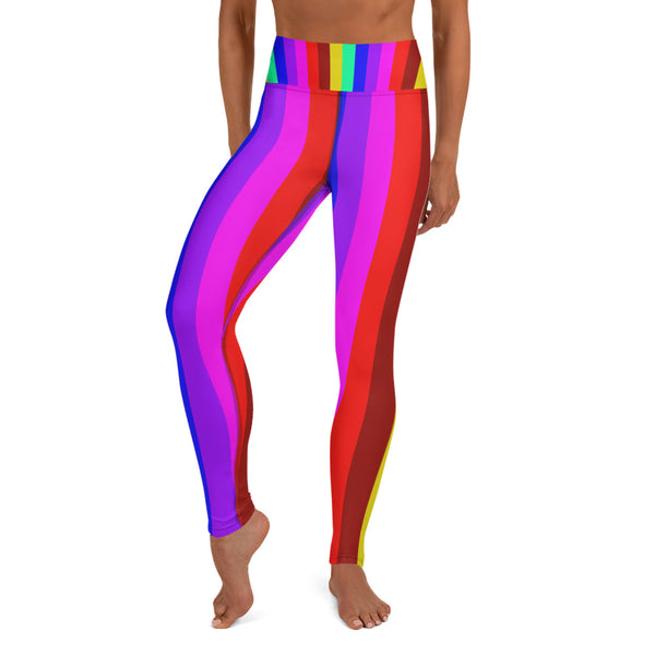 Women's Rainbow Gay Pride Parade Gym Active Fitted Leggings Sports Yoga Pants-Leggings-Heidi Kimura Art LLC Rainbow Striped Women's Leggings, Women's Rainbow Gay Pride Parade Gym Active Fitted Leggings Sports Yoga Pants - Made in USA/EU (US Size: XS-XL)