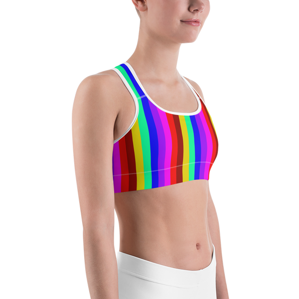 Colorful Gay Friendly Rainbow Vertically Striped Women's Sports Bra -Made in USA-Sports Bras-Heidi Kimura Art LLC