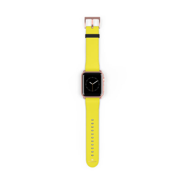 Yellow Solid Color 38mm/42mm Watch Band Strap For Apple Watches- Made in USA-Watch Band-38 mm-Rose Gold Matte-Heidi Kimura Art LLC