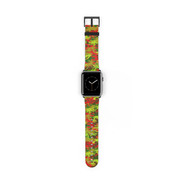 Red Green Red Camo Print 38mm/42mm Watch Band For Apple Watches- Made in USA-Watch Band-42 mm-Black Matte-Heidi Kimura Art LLC