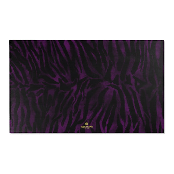 "Purple Black Tiger Stripe Print Designer 24x36, 36x60, 48x72 inches Area Rugs - Printed in USA-Area Rug-60"" x 36""-Heidi Kimura Art LLC"