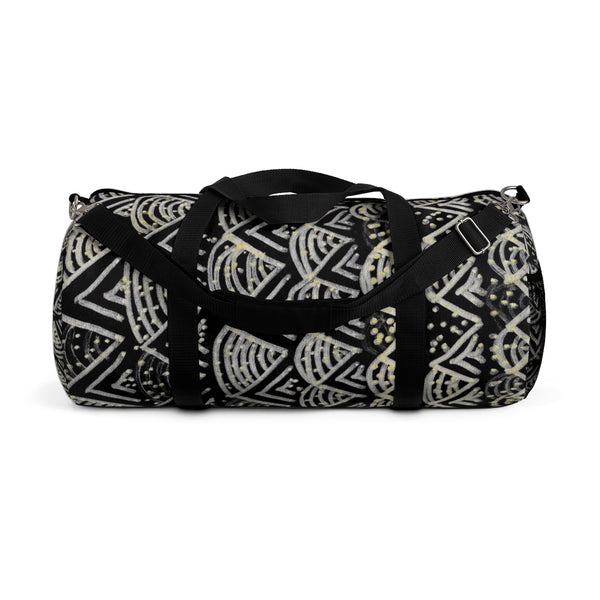 Black Geometric Duffel Bag, African Tribal Pattern Small/ Large Size Duffel Bag-Made in USA-Duffel Bag-Small-Heidi Kimura Art LLC