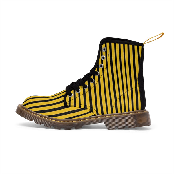 Yellow Striped Print Men's Boots, Black Stripes Best Hiking Winter Boots Laced Up Shoes For Men-Shoes-Printify-Heidi Kimura Art LLC Yellow Striped Print Men's Boots, Black and Yellow Stripes Men's Canvas Hiking Winter Boots, Fashionable Modern Minimalist Best Anti Heat + Moisture Designer Comfortable Stylish Men's Winter Hiking Boots Shoes For Men (US Size: 7-10.5)