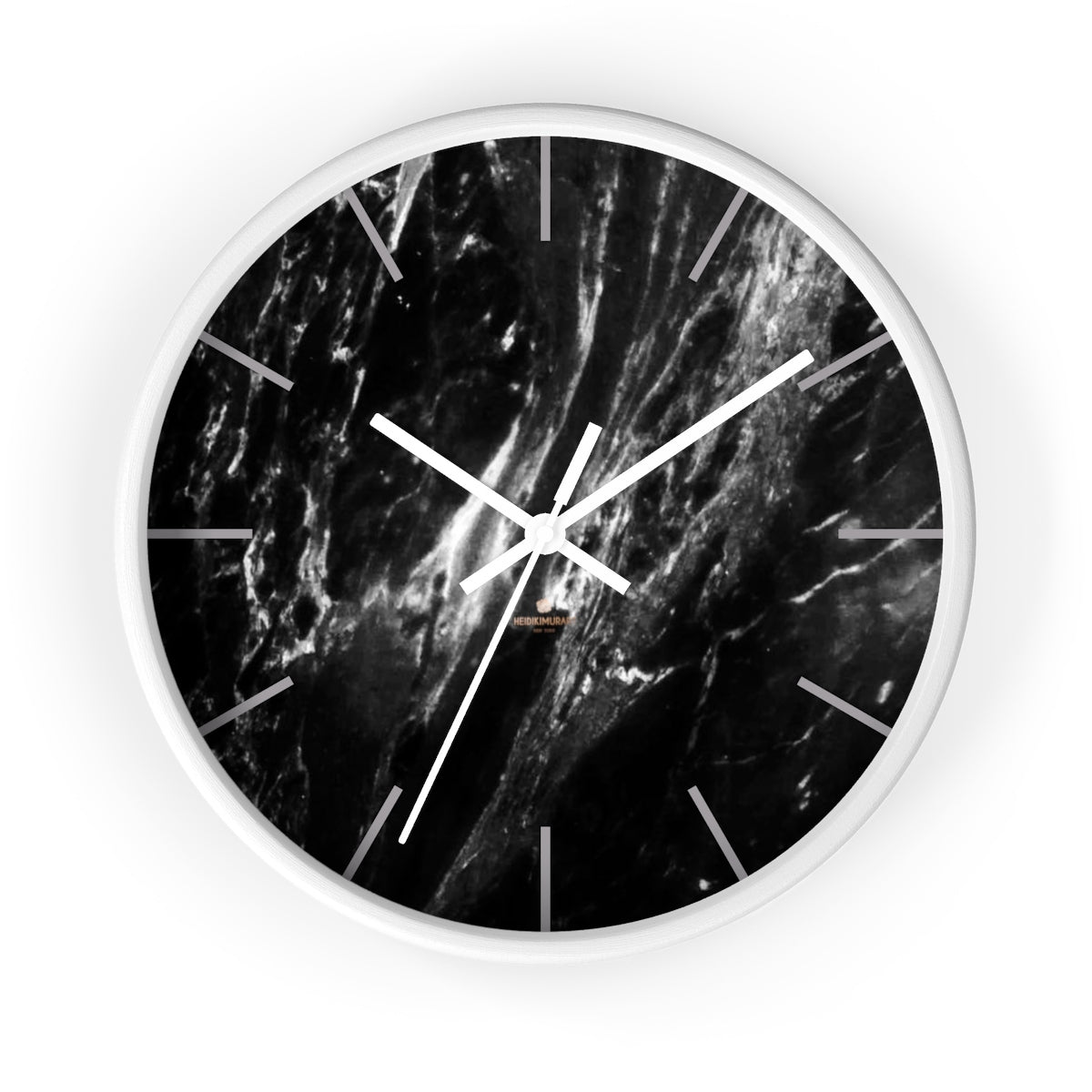 Elegant Black & White Marble Print Art Large Indoor Designer Wall Clock-Made in USA-Wall Clock-10 in-White-White-Heidi Kimura Art LLC