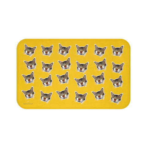 Yellow Cat Print Bath Mat, Bright Calico Cat Premium Microfiber Bath Rug- Printed in USA-Bath Mat-Large 34x21-Heidi Kimura Art LLC