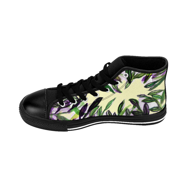 Light Yellow Green Tropical Leaf Print Designer Men's High-top Sneakers Tennis Shoes-Men's High Top Sneakers-Heidi Kimura Art LLC
