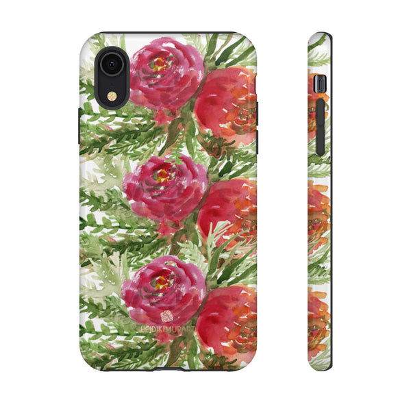 Red Orange Floral Phone Case, Flower Print Tough Designer Phone Case -Made in USA-Phone Case-Printify-iPhone XR-Glossy-Heidi Kimura Art LLC