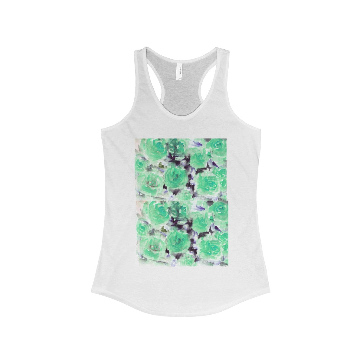 Nobusuke Ice Blue Rose Floral Women's Ideal Racerback Tank -Made in the U.S.A. (US Size: XS-2XL) - Heidi Kimura Art LLC