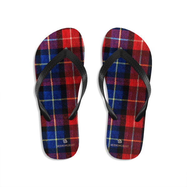 Red Plaid Tartan Scottish Classic Print Unisex Designer Flip-Flops - Made in USA-Flip-Flops-Large-Heidi Kimura Art LLC