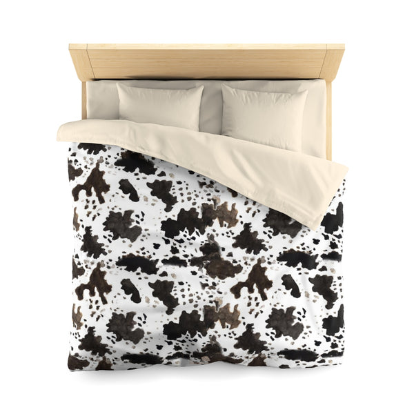 Cow Print Lightweight Woven Microfiber Queen/Twin Bed Duvet Cover, Made in USA-Duvet Cover-Queen-Cream-Heidi Kimura Art LLC