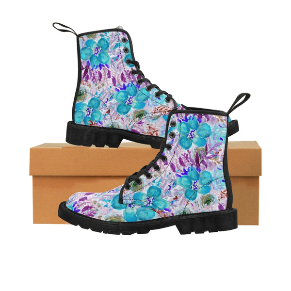 Blue Floral Women's Canvas Boots-Shoes-Printify-Black-US 8.5-Heidi Kimura Art LLC Blue Floral Women's Canvas Boots, Flower Rose Print Ladies Fashion Lace-Up Hiking Boots, Best Ladies' Combat Boots, Designer Women's Winter Lace-up Toe Cap Hiking Boots Shoes For Women (US Size 6.5-11)